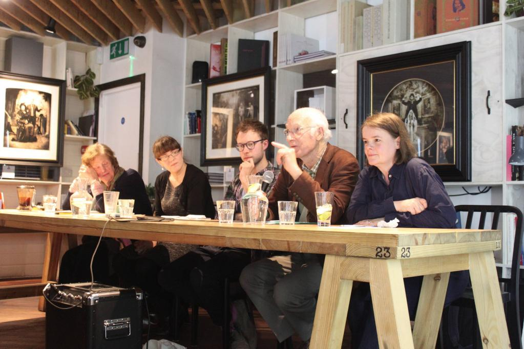 The 'Shakespeare in Shoreditch' panel event hosted by the RIFT immersive acting company at The Proud Archivist 12th October 2014. Prof. Katherine Duncan Jones, Dr. Lucy Munro, Robert Stagg, Prof. Andrew Gurr and Dr. Eva Griffith